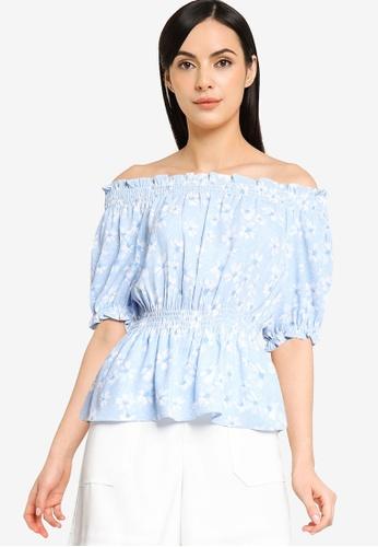 G2000 blue Floral Printed Off-Shoulder Blouse 135C0AA40DCEBAGS_1