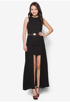 Double Layer Maxi Dress With Belt
