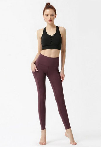 B-Code brown ZYG3060-Lady Quick Drying Running Fitness Yoga Sports Leggings -Brown 67755AA7E1BF1EGS_1
