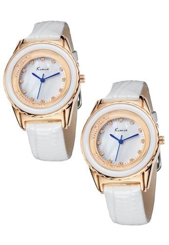 Eyki white Bundle 2 Units Eyki Kimio KW512 Ladies Gold-plated White Leather Watch EY078AC0RRKKMY_1