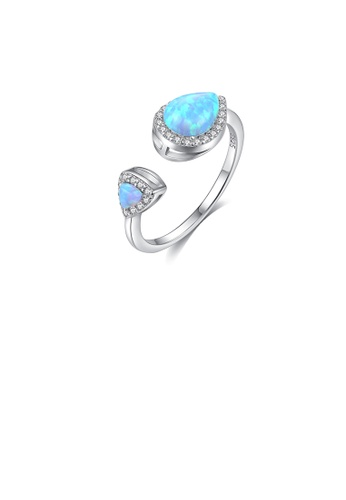 Glamorousky white 925 Sterling Silver Fashion Simple Water Drop-shaped Blue Imitation Opal Adjustable Open Ring with Cubic Zirconia 4F04AAC4182DA5GS_1