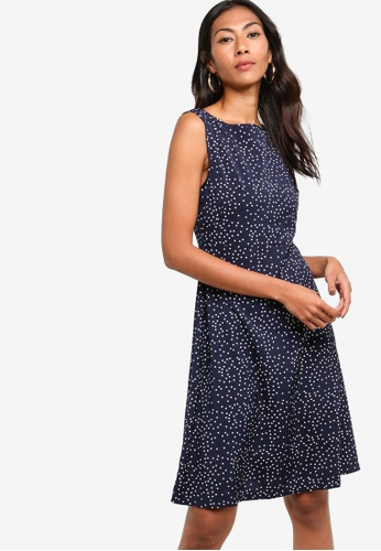 ZALORA BASICS navy Basic Fit And Flare Dress B00B0AAFE15ED3GS_1