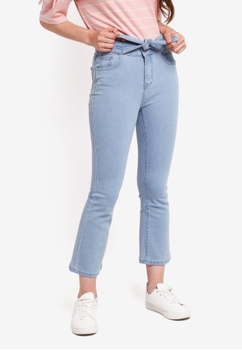 Something Borrowed blue Bow Tie Front Kick Flare Jeans 41C0EAA607084CGS_1