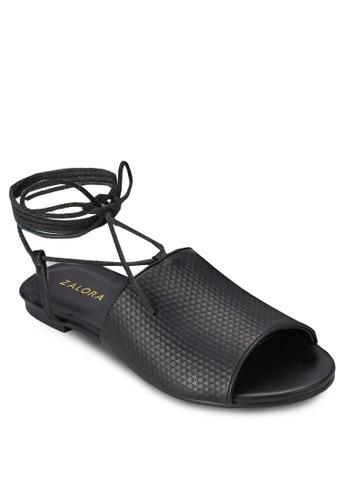 繫帶繞esprit outlet 桃園踝平底涼鞋, 女鞋, 鞋
