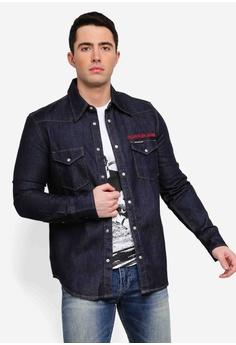 6726f2fdc5 Calvin Klein blue Foundation Western Shirt - Calvin Klein Jeans  99F6EAA0309AAAGS_1