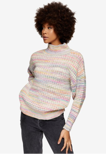 TOPSHOP multi Multicoloured Waffle Knitted Jumper 420D2AAC80C236GS_1