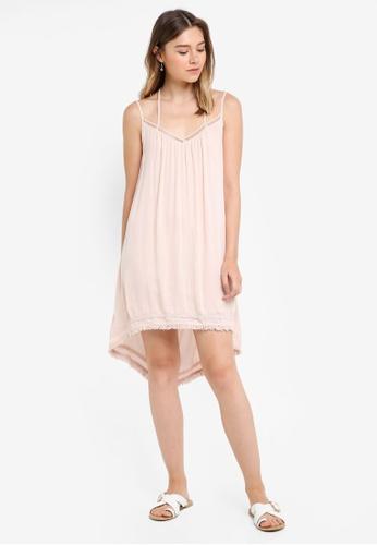 Something Borrowed pink Pompom Trim Cami Dress 8546DAA3E51D89GS_1