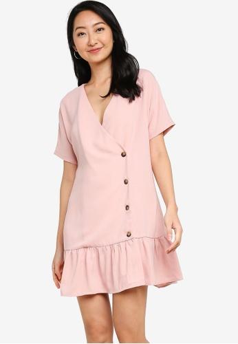 ZALORA BASICS pink Button Detail Wrap Dress 9F8EAAA440FB50GS_1
