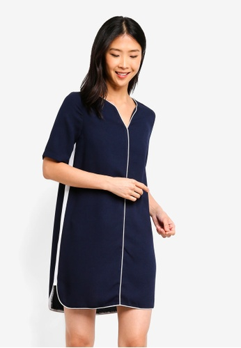 ZALORA BASICS navy Basic Contrast Notch Neck Dress 70B77AA05CB74DGS_1