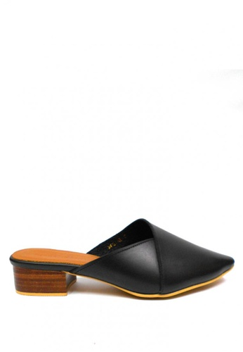 April Colleen Shoes black Regine Leather Mules AP796SH0ILILPH_1