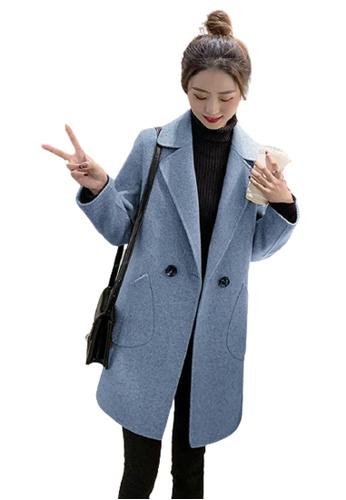Halo 藍色 反領羊絨毛呢外套中褸 2D3C4AA5CC50C8GS_1
