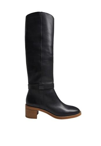 Mango black Leather High-Leg Boots 0F908SH16DE13FGS_1