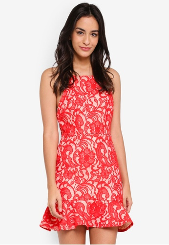 MISSGUIDED red Premium 90S Neck Lace Frill Hem Skater Dress 98266AA2FCB267GS_1