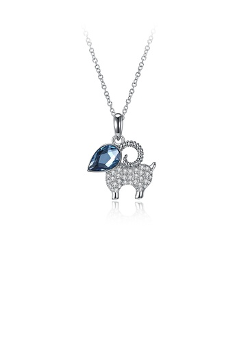Glamorousky blue 925 Sterling Silver Cute Goat Pendant with Blue Austrian Element Crystal and Necklace 5A4FCACEC54CBAGS_1