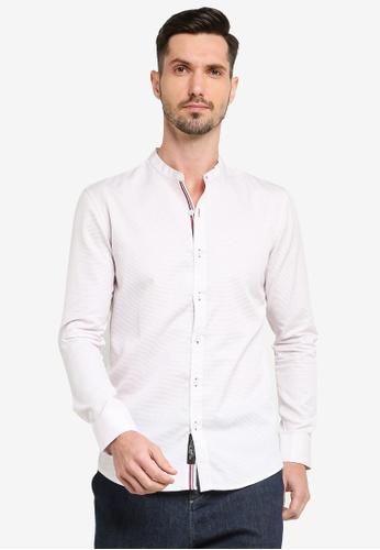 UniqTee red Collar Long Sleeve Shirt 4952FAAB6E279BGS_1