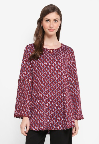 TOPGIRL red Printed Blouse with Lace Hem 4056BAA980A16FGS_1