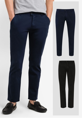 ZALORA black and navy 2 Pack Slim Fit Chino Button Tab Pants ZA819AA0RLXGMY_1