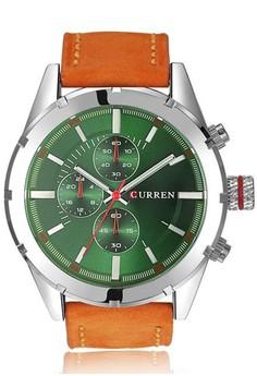 Curren Leather Band Fashion Dial Male Quartz Watch 8154A
