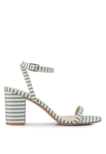 Velvet 灰色 Striped Block Heels CB328SHF6D6F06GS_1