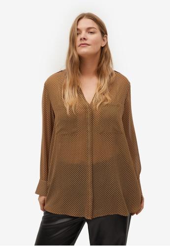 Violeta by MANGO brown Plus Size Flowy Printed Blouse FC893AA02E87A7GS_1