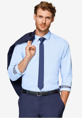 ESPRIT 藍色 質感長袖襯衫 0CC9AAA0A59EF9GS_1