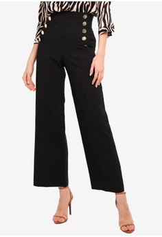 4f0cf36a3b River Island black Button Wide Leg Trousers 55AC6AA2623B95GS_1