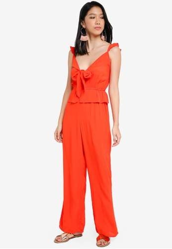 River Island red Bella Bow Front Jumpsuit 67BADAA94FB732GS_1