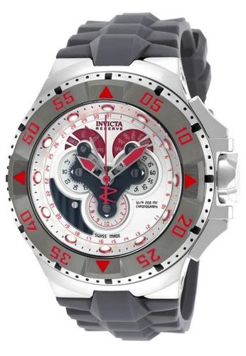 INVICTA grey and red Invicta Excursion Men 50mm Case Grey Silicone Strap Antique Silver Dial Quartz Watch 18561 IN968AC0F5CVSG_1