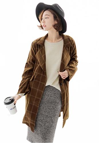 Sesura brown Plaid So Sleek Long Jacket 4359FAA3446073GS_1