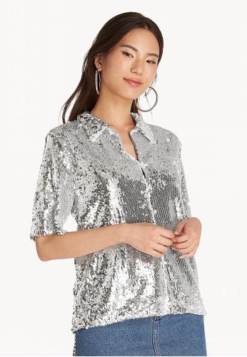 4baf0ce5d1e Pomelo silver Sequin Collared Shirt - Silver CC7BAAAE86FDD7GS 1