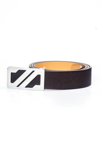 ENZODESIGN brown Saffiano Dark Brown Leather Belt EN357AC0F58GSG_1