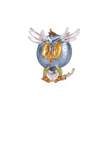 Glamorousky silver Simple and Cute Plated Gold Blue Owl Brooch F10A7AC5C32FC1GS_1