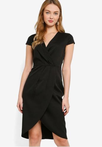 ZALORA WORK black Asymmetric Pleated Wrap Dress 91614AA26CB043GS_1