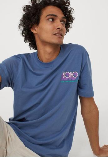 H&M blue Printed T-Shirt 8BCDFAAF53F2ADGS_1