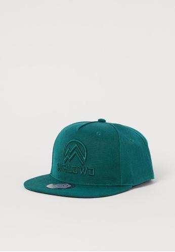 H&M green and blue Twill Cap 9A9F5KCFBF6B1BGS_1