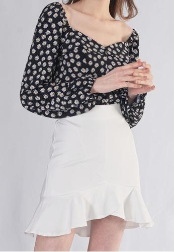 Plain B. white Plain B. Ruffle Short Casual Pants Skirt C08EBAAC4CB1B3GS_1