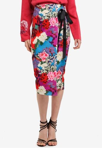 LOST INK multi Floral Tie Detail Pencil Skirt 834C5AAFF33EDEGS_1