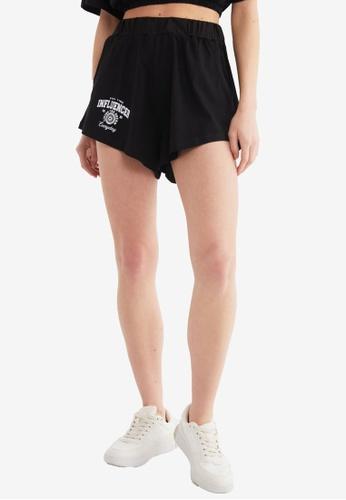 Trendyol black Printed High Waist Knitted Shorts 3668BAAFB7D678GS_1