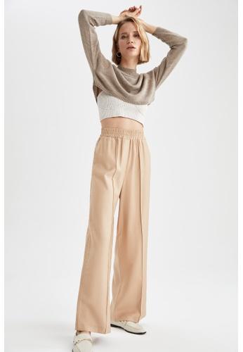 DeFacto brown High Waist Wide Leg Trousers 2A251AA7DE7DDCGS_1