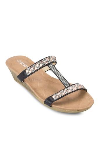 zalora 順豐閃飾工字帶楔型涼鞋, 女鞋, 鞋