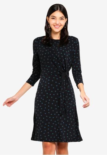 WAREHOUSE 黑色 Polka Spot Tie Front Dress 6D56EAA4D89B26GS_1