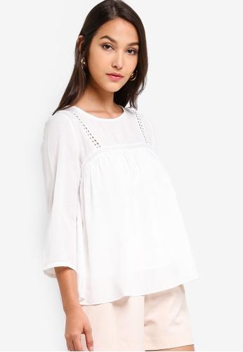 ZALORA 白色 蕾絲娃娃上衣 AC526AAFA7D977GS_1