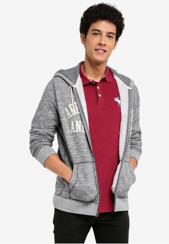 Abercrombie & Fitch grey Core Logo Full Zip Sweater 66B07AA3F6EC7EGS_1