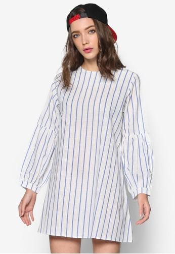 條紋長袖直筒連身裙, 韓esprit outlet hk系時尚, 梳妝