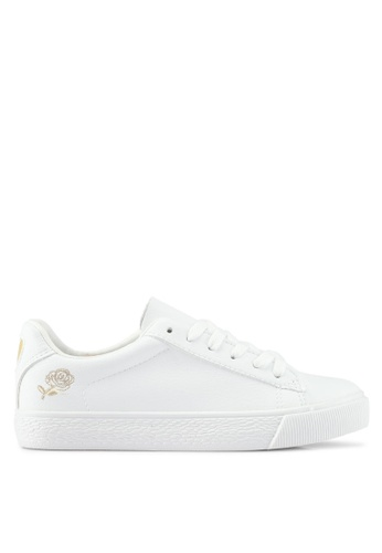 Twenty Eight Shoes white Simple Floral Embroidery Sneakers 29797SH6188BEEGS_1