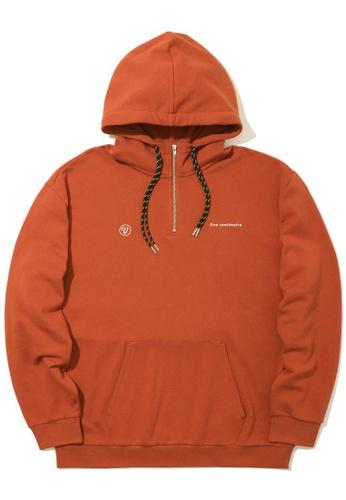 Fivecm brown Quarter zip logo hoodie FDD54AAC159DECGS_1