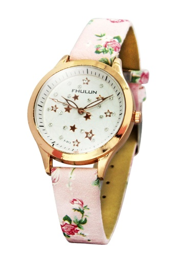 World of Watches pink Fhulun Golden Stars Leather Strap Watch F-913 WO566AC55IEIPH_1