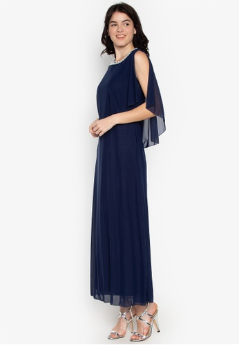 CIGNAL navy Long Mesh Gown w/ Pearl Cape 08DC0AA8C16DFCGS_1