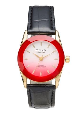 OMAX 8E0031G 彩色圓框皮革錶, 錶類, 飾品配esprit分店地址件