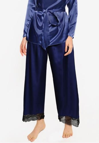 ZALORA BASICS 黑色 and 藍色 Lounge 蕾絲滾邊寬褲 36E3AAA43971B6GS_1